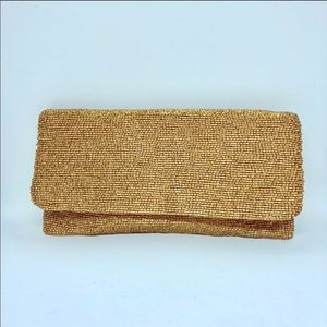 Moyna beaded clutch in Matte Gold